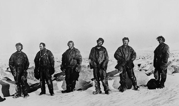 The Northern Party after their long winter in the ice cave  From left: Dickason, Campbell, Abbott, Priestley, Levick and Browning.  © Scott Polar Research Institute, University of Cambridge