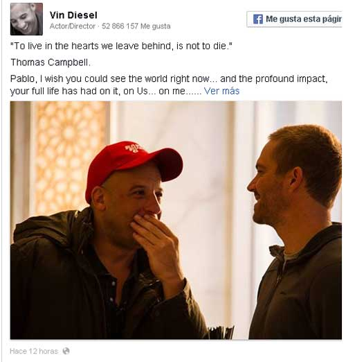 Vin Diesel rinde homenaje a Paul Walker en Facebook