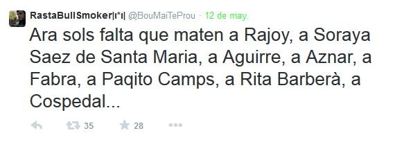 Detenido un joven de 19 años en Valencia por pedir en Twitter que se mate a políticos