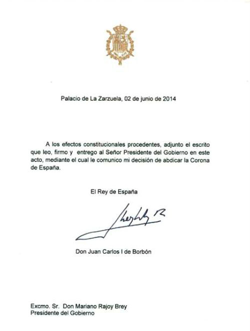 Carta de abdicación del Rey