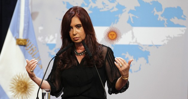 Argentine President Fernandez delivers a speech at the Government House in Buenos Aires