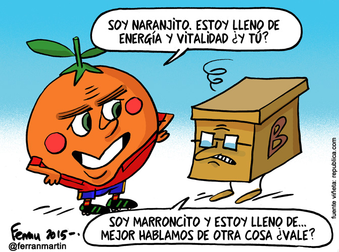 La viñeta: Naranjito y marroncito