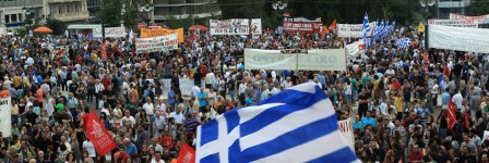 Rally against austerity and in support of the government in Athens