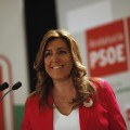 Andalusian PSOE secretary Diaz smiles as she gives a news conference at her  during the Andalusian regional election in Sevilla