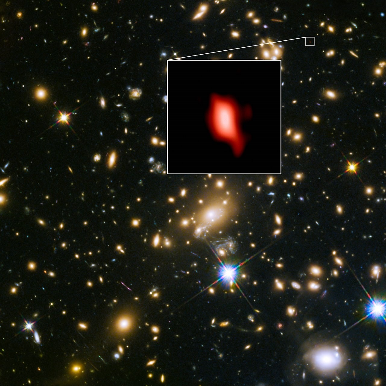 Resultado de imagen de El equipo infirió que la señal fue emitida hace 13.300 millones de años (o 500 millones de años después del Big Bang), convirtiéndolo en el oxígeno más distante jamás detectado por ningún telescopio. La presencia de oxígeno es una clara señal de que debe haber habido incluso generaciones anteriores de
