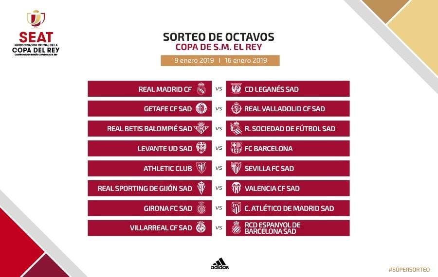 Real Madrid-Leganés y Barca-Levante en octavos de Copa del Rey
