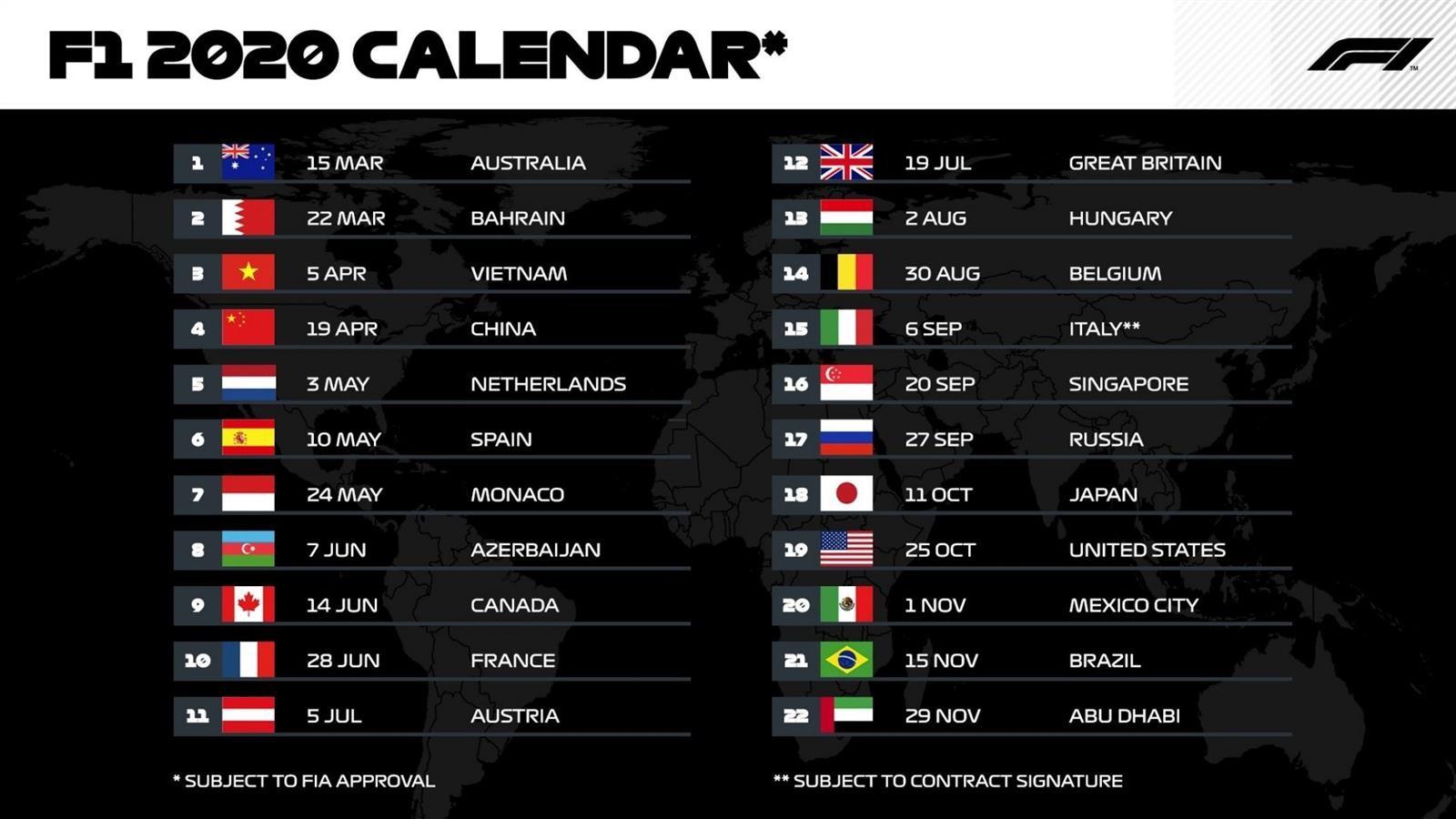 Calendario Mundial 2020.La Formula 1 Presenta Un Calendario Record Para El Mundial