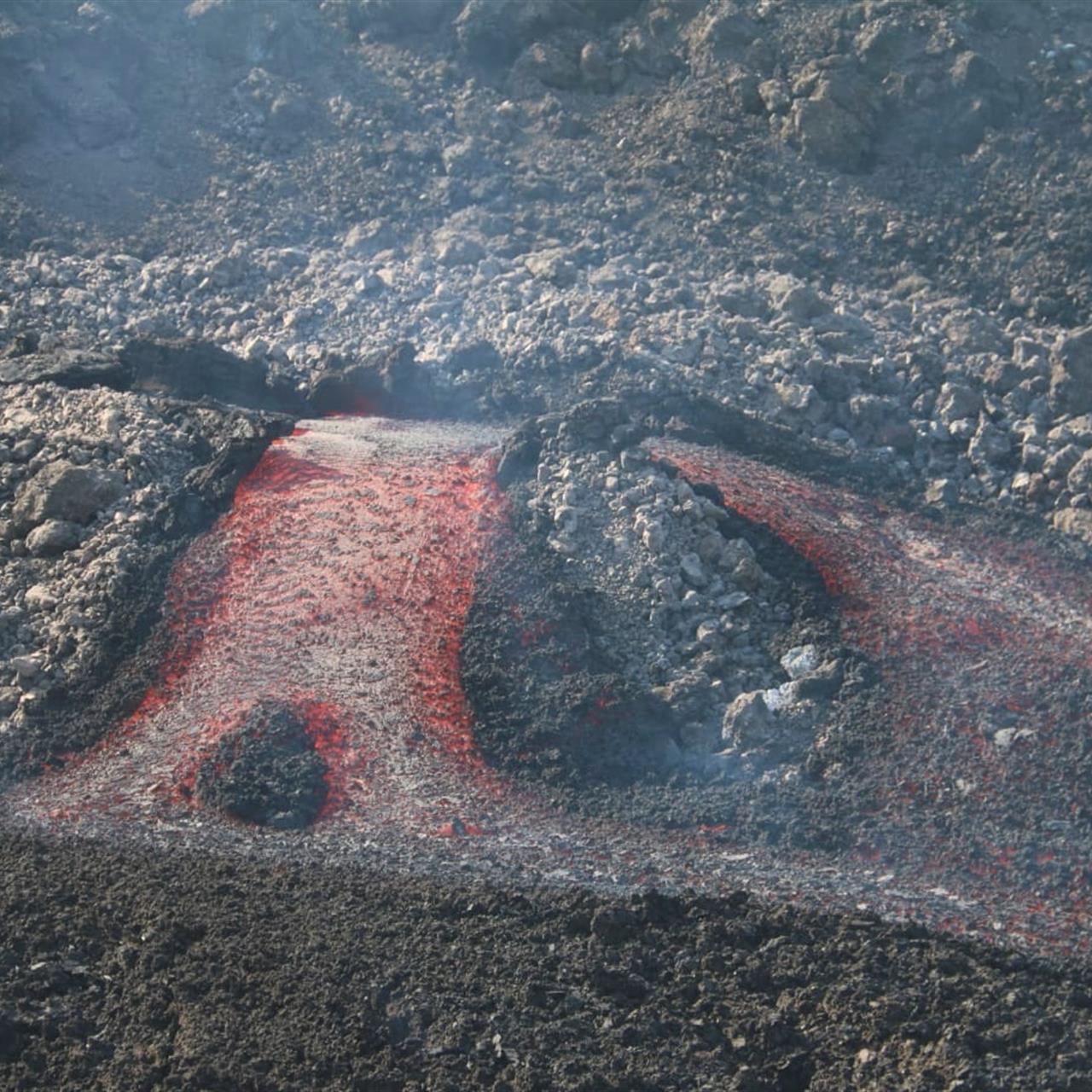 Las coladas de lava del volcán de La Palma han arrasado cientos de hectáreas de terreno.